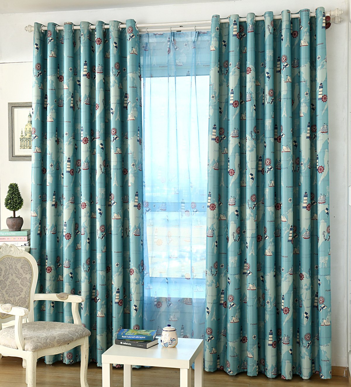 ZWB Room Darkening Window Treatment Kids Children Room Grommet Top Blackout Curtains Thermal Insulated Nautical Vessel Rudder Panel for Children Boys Bedroom Living Room 1 Panel W39 x L84 Inch