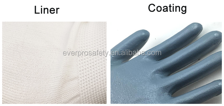 nitrile coated gloves grey white