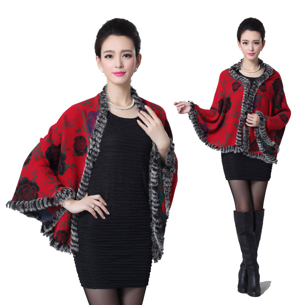 5 Colors 2015 New Fashion Winter Scarf Wool Women Warm Print Long Knitting Cashmere Rabbit Fur Shawl Winter Poncho Scarves NW41