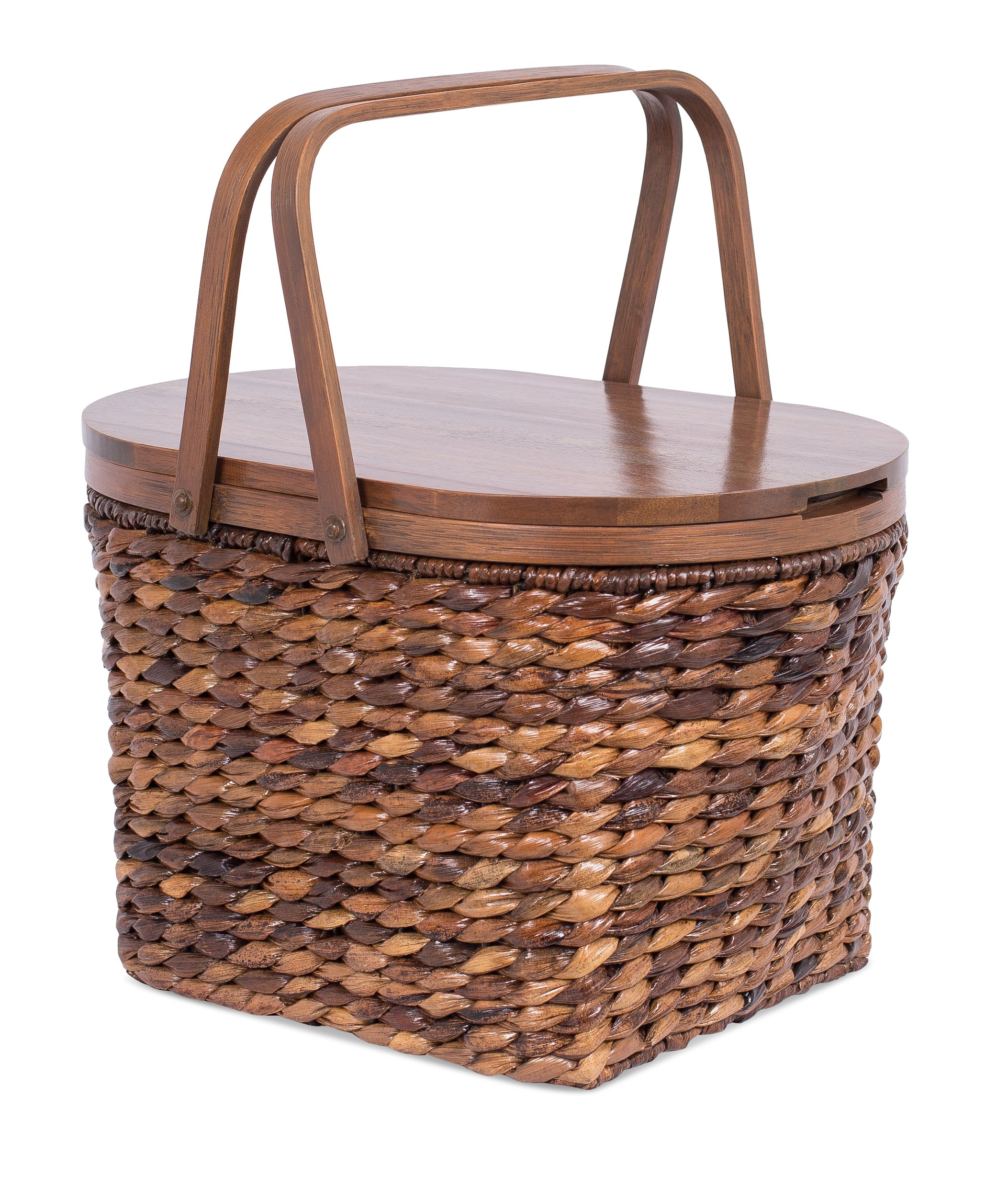 BirdRock Home Seagrass and Abaca Picnic Basket with Wood Lid | Hand Woven | Espresso | Decorative Latch | Wooden Top | Home Décor | Folding Handles