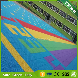 PP copolymer colorful environmental soft plastic click lock kindergarten flooring