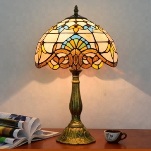Mediterranean Style Table Lamps Tiffany Stained Glass Alloy Fixture Bedside Lamp