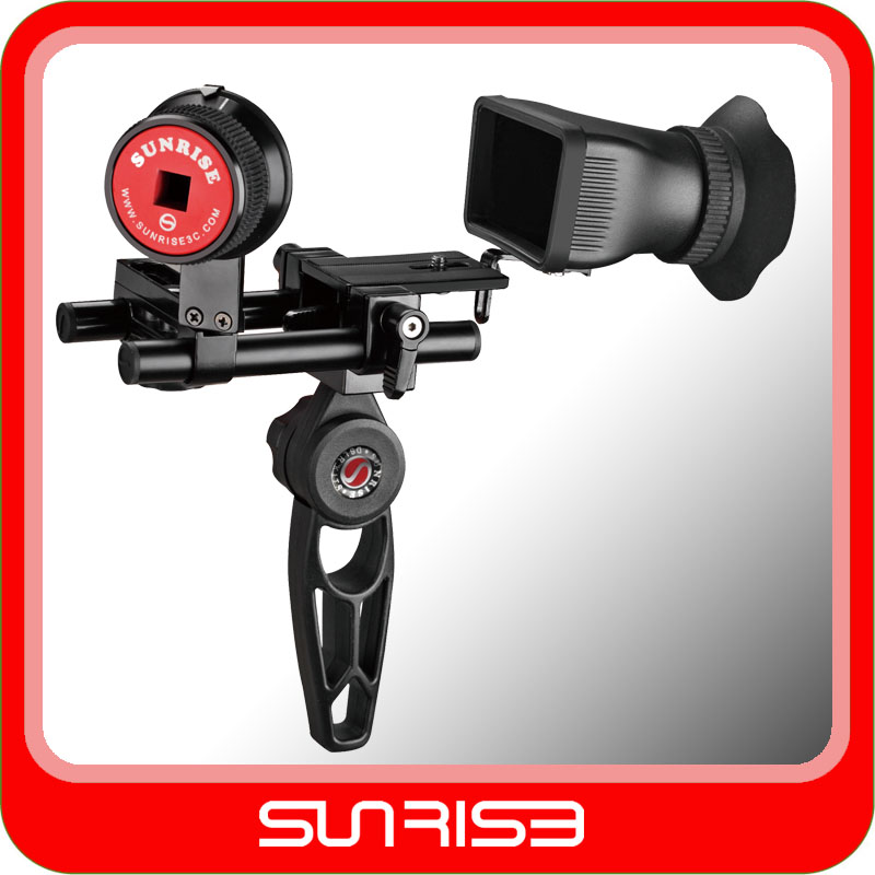 SUNRISE Camera Shoulder Support Mount Rig with 3X View finder Gearless Follow focus for Canon Nilkon Camera Video