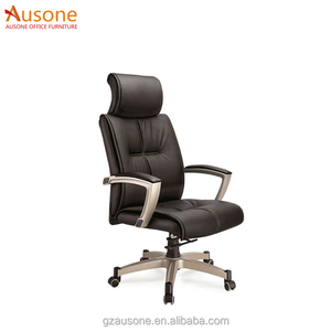 Ergonomic Aluminum alloy foot leather visitor office chair