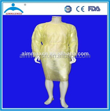 Isolation gown yellow, non sterile isolation gown,tie-back disposable isolation gown