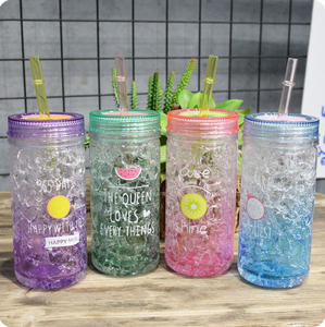 HT200003 Best Selling Products Bpa Free double Wall Tube Plastic Cup Japan Cold Cup