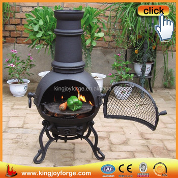 Outdoor Freestanding Cooking Cast Iron Chiminea Fireplace Chimney