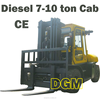All New Fork lift Truck 10 tons cab heater, Automatic c/ air conditioner, Triplex Mast, Solid Pneumatic Tires