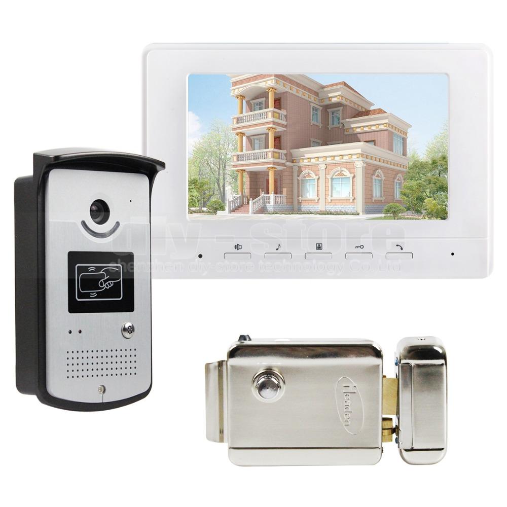 Electric Lock 7 inch Wired Video Door Phone Doorbell Home ...