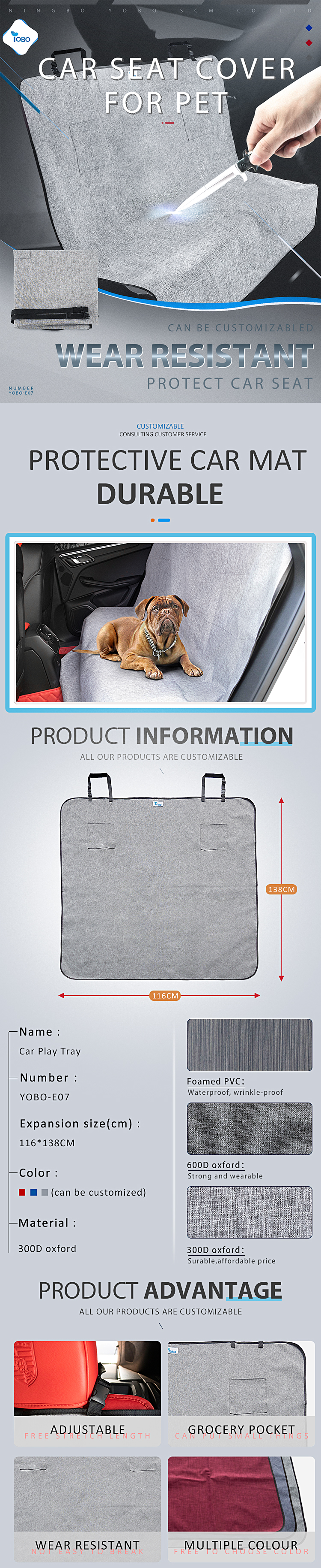 Comfortable Waterproof Oxford Dog Hammock Pet Dog Car Seat Cover