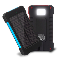 Best portable camping solar power bank 8000mah charger for hiking with flashlight
