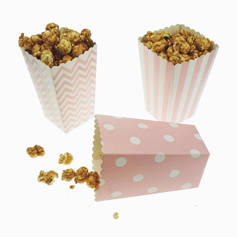 Bilipala Popcorn Boxes, Popcorn Favor Boxes, 24 Count, Pink Chevron, Stripe and Polka Dot