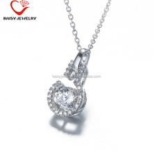 Best Selling Factory Direct Hot Sale Bulb s925 silver statement necklace with dancing stone