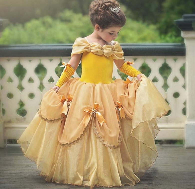 2018 new dress Belle princess dress children's pettiskirt evening dress skirt show skirt Halloween Tutu, As the pic