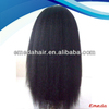 Kinky straight 100% virgin remy peruvian human hair full lace wig with bang