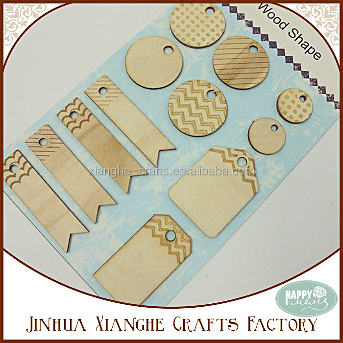 Round and Rectangle Wood Shape Wood Chip Craft