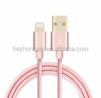 Vendita caldo del telefono mobile cavo usb nylon intrecciato tessuto di sincronizzazione di ricarica cavi per il commercio all'ingrosso iphone prezzo a buon mercato