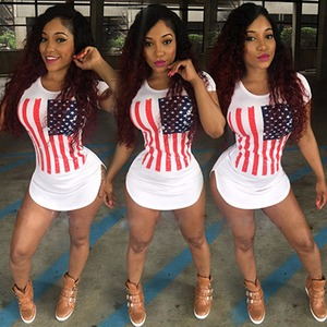 Amazon hot style European and American ladies sexy American flag super short dress