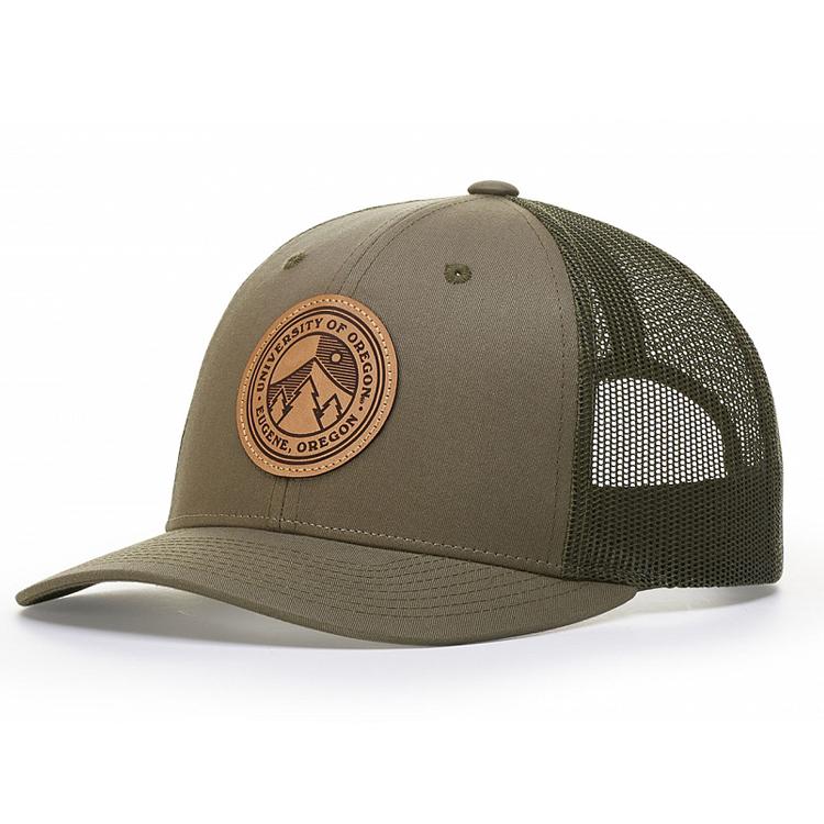 2018 kulit patch trucker topi kustom dengan patch