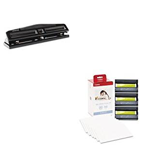 KITCNM3115B001UNV74323 - Value Kit - Canon KP-108IN Color Ink Ribbon w/Glossy 4 x 6 Photo Paper Pack (CNM3115B001) and Universal 12-Sheet Deluxe Two- and Three-Hole Adjustable Punch (UNV74323)
