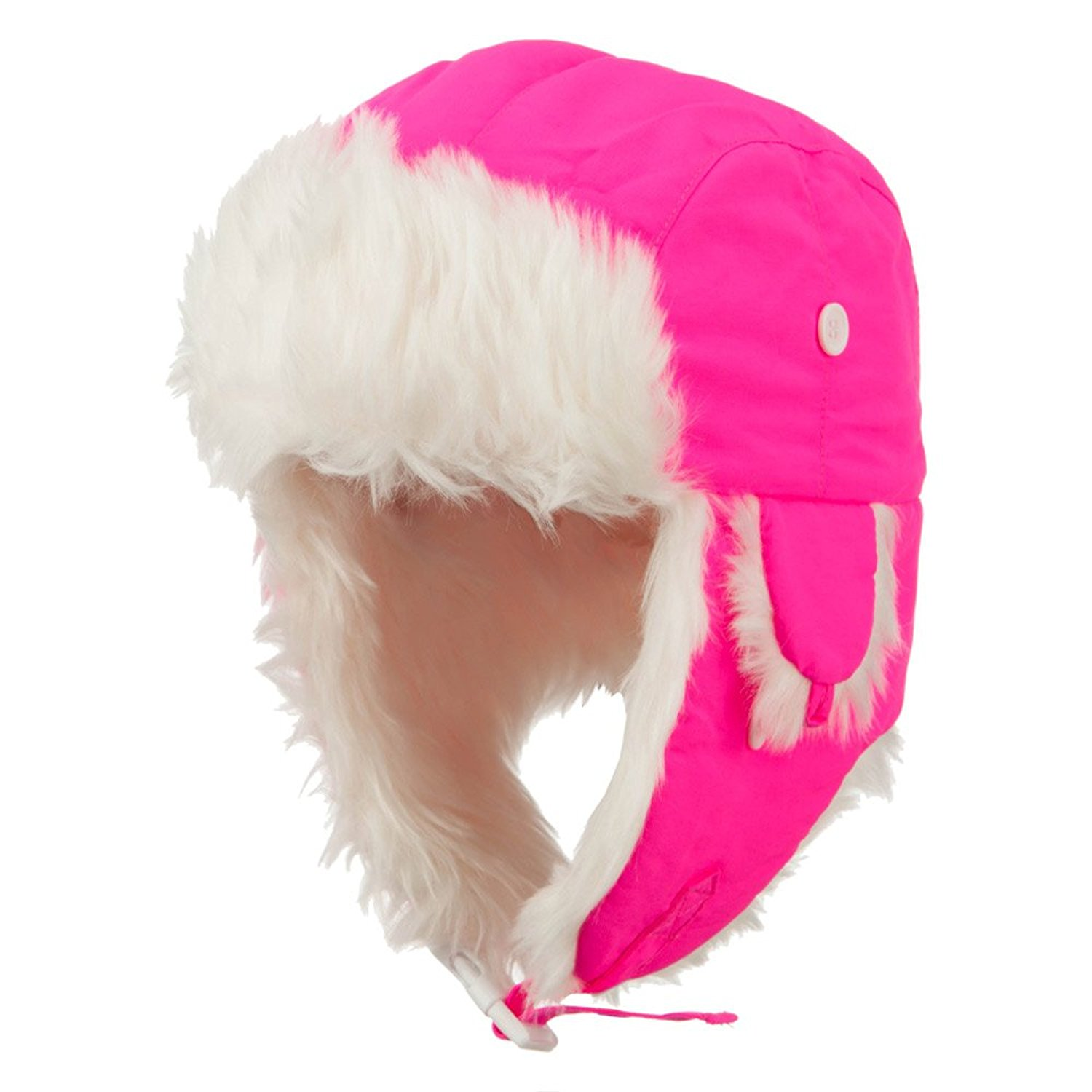 961013fc2e0 Get Quotations · Neon Faux Fur Aviator Trooper Hat - Neon Pink