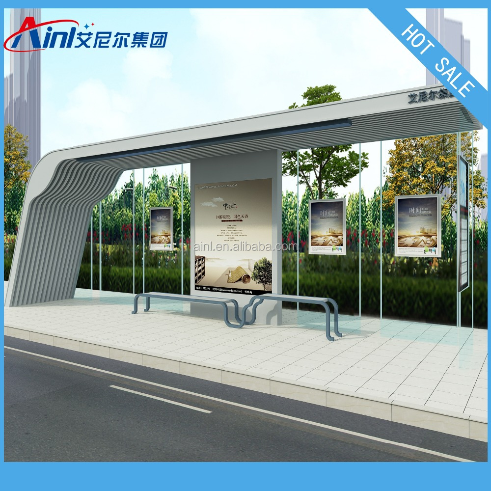 Modern City Bus Shelter With Solar Power System And LED Scrolling Light Box