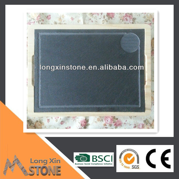 stone plate with wooden tray set