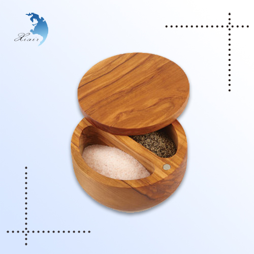 Promotion custom design kitchen storage wooden Bamboo salt box