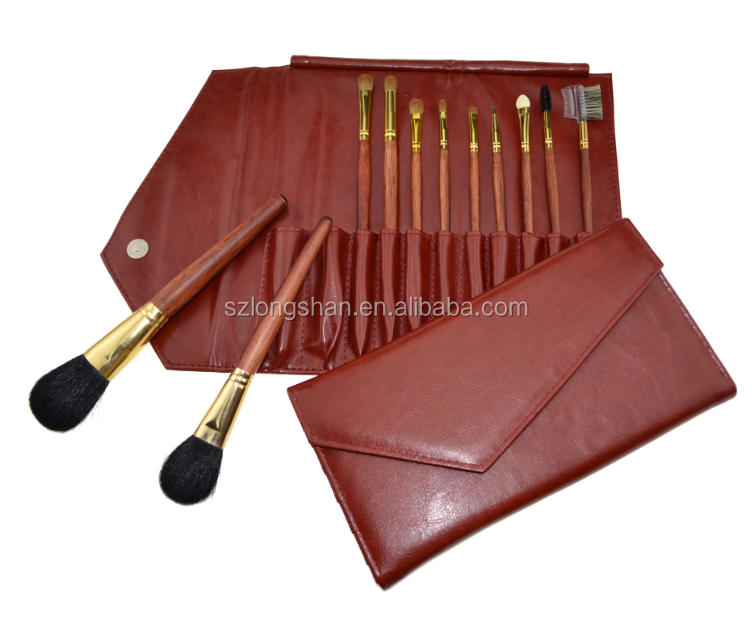 high quality luxury beauty make-up brushes cosmetics tool kit set with leather case