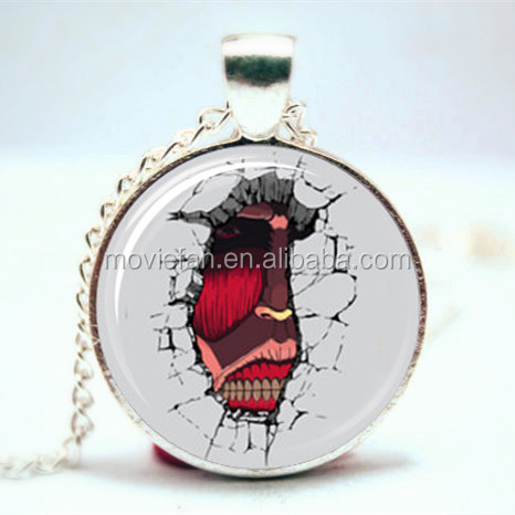 Attack on Titan Inspired Necklace Japan Cartoon Glass Photo Cabochon Necklace