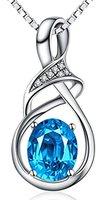 925 sterling silver austrian blue natural topaz gemstone pendant necklace