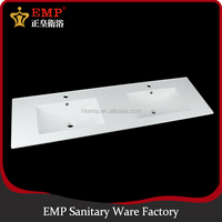 Popular 1.5M length double sink ceramic wash hand basin for bathroom