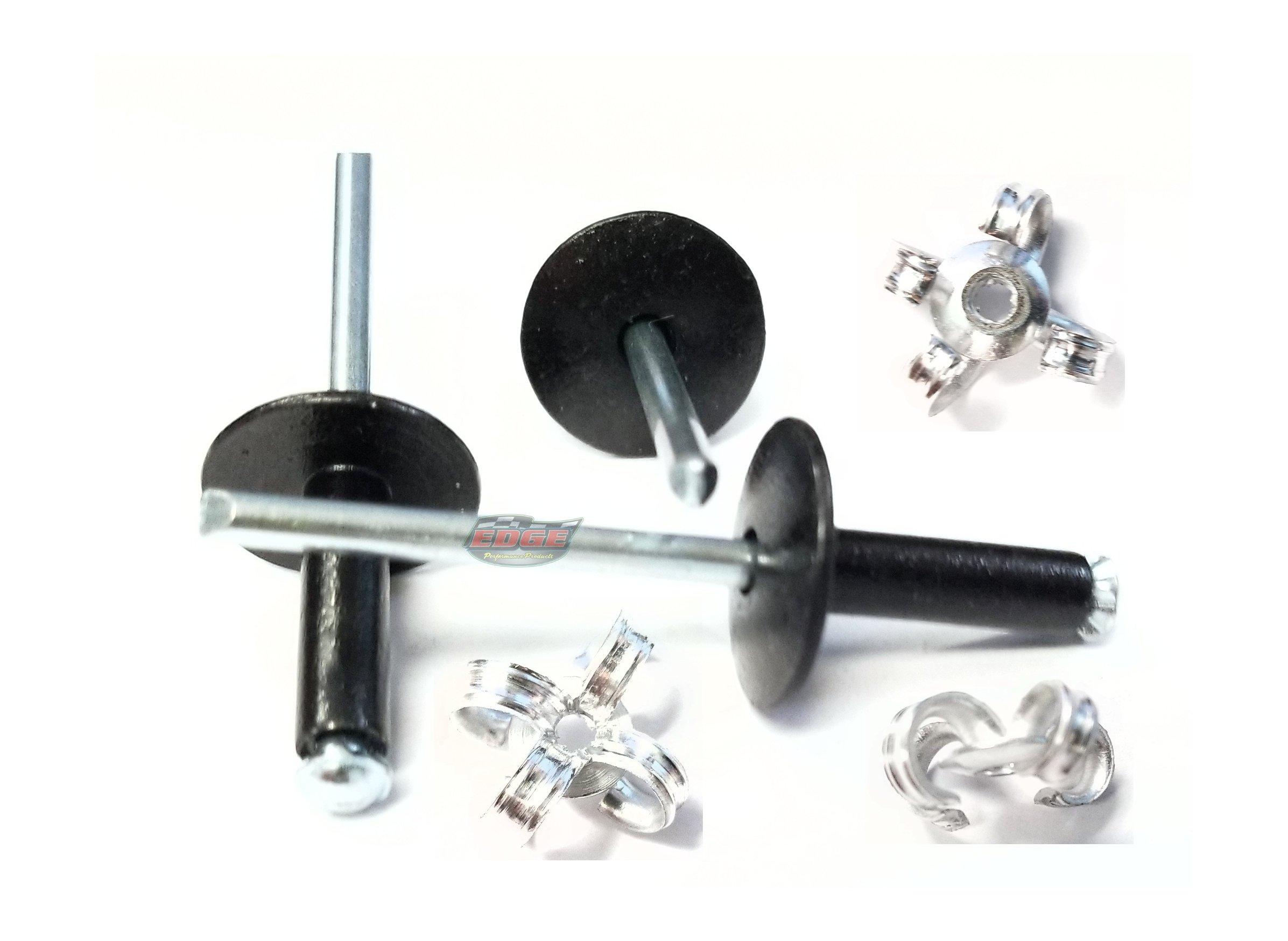 "3/16"" Large Head Peel-Back Aluminum, Steel Mandrel Pop Rivets 250ct (Black)"