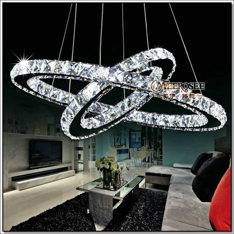 Luxury Modern Chandelier Led Circle Ring Chandelier Light: 2 Rings LED Crystal Chandelier Ring Light, Crystal Lusters