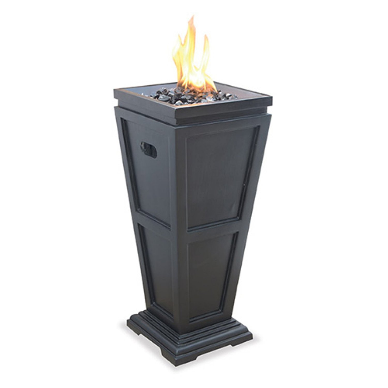 LP Gas Fire Pit Column, Classically Designed, Decorative Faux-Stone Slate Finish Base, Durable Stainless Steel Burner, Bundle With Ebook For Home Furniture
