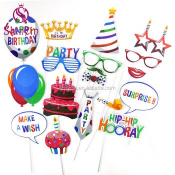 High Quality Custom Happy Birthday Balloon Crown Cake Photo Booth Props