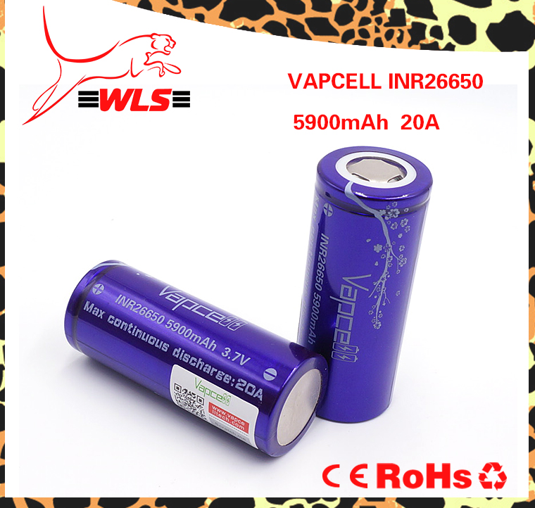Vapcell 5900mAh 20A li-ion battery inr26650 rechargeable batteries for electric bike/scooter
