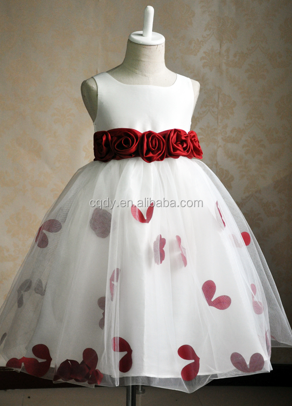 New Design White Princess Chiffon Girl Party Wear Western Dresses Fancy Birthday Dress For Of