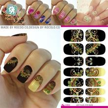 The new second generation water shifting makeup mysterious fantasy pattern black nail polish nail stickers K5633