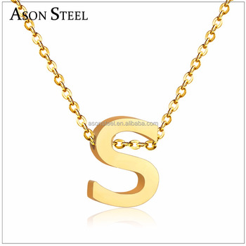 70a8d9724a8fc8 Sideways gold/silver plated initial pendant personalized letter S necklace