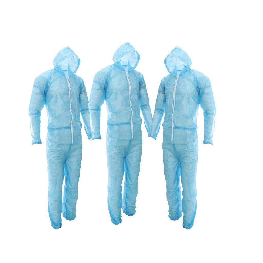 Flameer 3X Disposable Coveralls Dust Spray Suit Non-Woven Lab Overall Clothing Blue, Fit 160-185cm Height