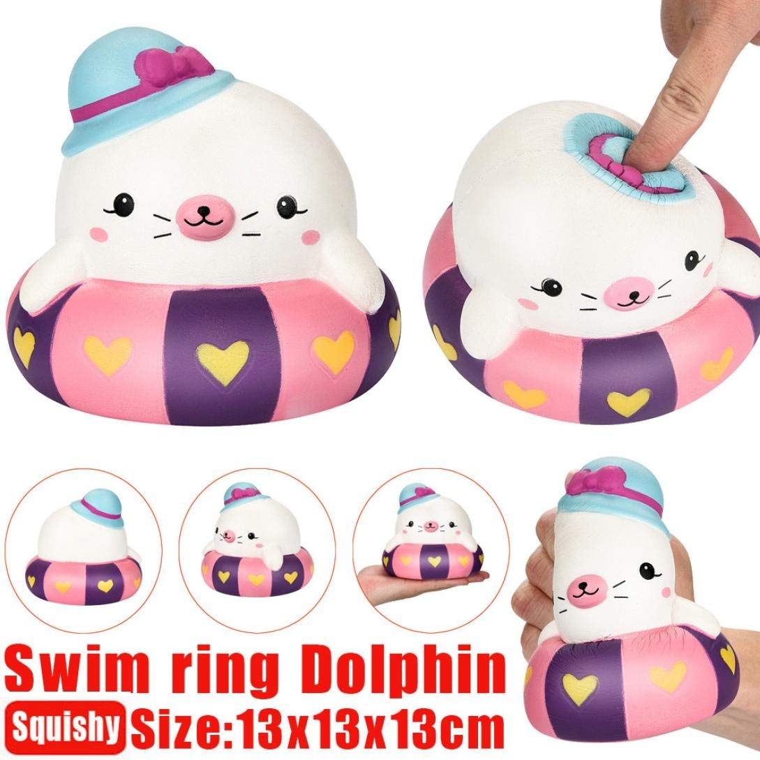 Siaokim Cute Squishy Toys, Kawaii 13cm Swim Ring Dolphin Scented Slow Rising Squeeze Stress Reliever Toy Kid And Adult Toy Gifts Hot Sale!