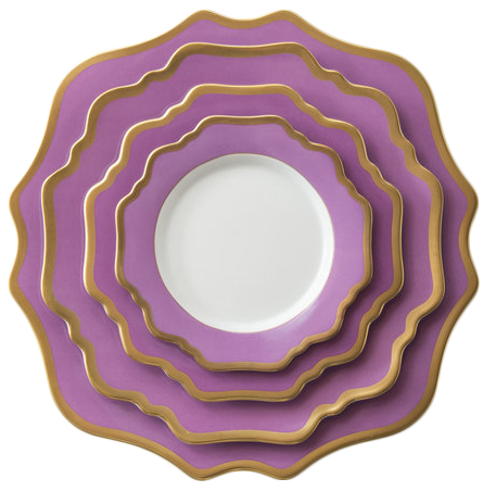 Eco-Friendly feature dinnerware set wedding charger plates porcelain dinner set, Pink with gold rim
