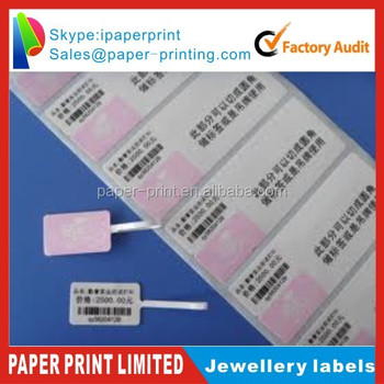 Jewellery barcode sticker labels pvc clear sticker roll label