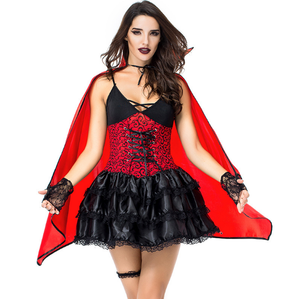 adult Girls Halloween Immortal Bride Sexy red and black Vampire Costume