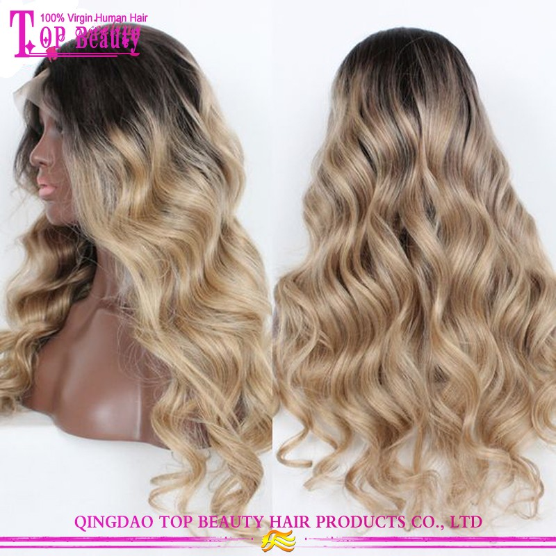 8A Grade 200% High Density Human Hair Wigs Ombre 1b/613 highlight Full Lace Human Hair Wigs Blonde Body Wave Lace Front Human Ha