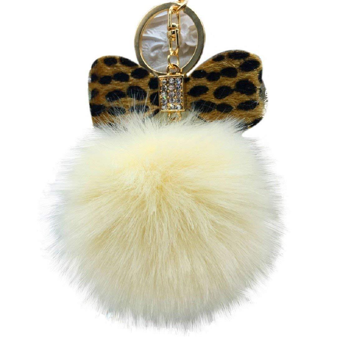 Egmy Leopard Bow Fluffy Faux Rabbit Fur Ball Bowknot Charm Car Keychain Handbag Key Ring (Yellow)