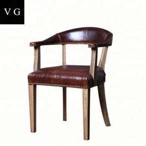 Classical design genuine leather grace wood dining chairs with arm