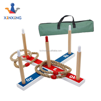 wooden Ring Toss Games For Kids and Outdoor Toys Keep Kids Active - Easy to Assemble and Includes Carry Bag with 5 rope rings