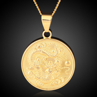 New Design High Quality 18K Gold Plated China Dragon Round Necklace Pendant For Men